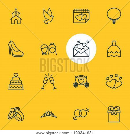 Vector Illustration Of 16 Wedding Icons. Editable Pack Of Wineglass, Patisserie, Calendar And Other Elements.
