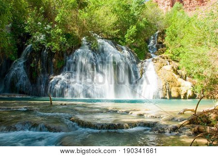 Navajo Falls Waterfall in Havasu Canyon, Arizona