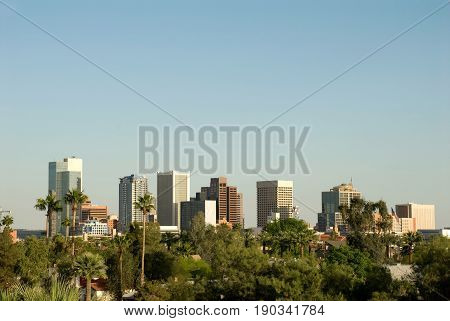 City Skyline of downtown business district in Phoenix Arizona