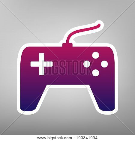 Joystick simple sign. Vector. Purple gradient icon on white paper at gray background.