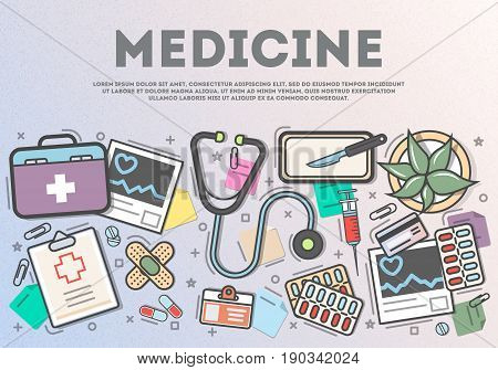 Medicine top view banner in line art style vector illustration. Healthcare diagnosis and treatment, pharmaceutical medicine. Stethoscope, first aid kit, syringe, scalpel, tablet, plaster on table.