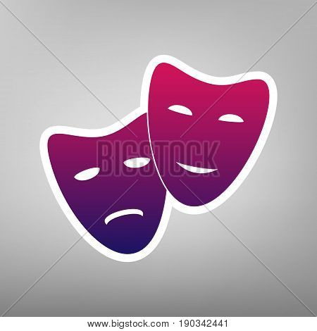 Theater icon with happy and sad masks. Vector. Purple gradient icon on white paper at gray background.