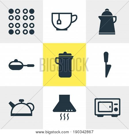 Vector Illustration Of 9 Restaurant Icons. Editable Pack Of Teakettle, Kitchen Dagger, Extractor Appliance And Other Elements.