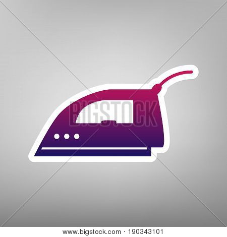 Smoothing Iron sign. Vector. Purple gradient icon on white paper at gray background.