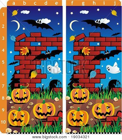 Find the ten differences between the two pictures - pumpkins field and old cemetery Halloween scene. ANSWER: a1, e1, a2, a3, b4, a5, c6, b7, j9, a10. poster