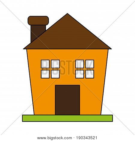 house with chimney over white backgroundvector illustration design