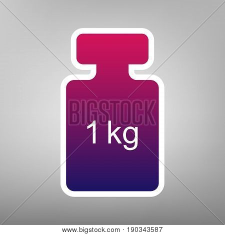 Weight simple sign. Vector. Purple gradient icon on white paper at gray background.