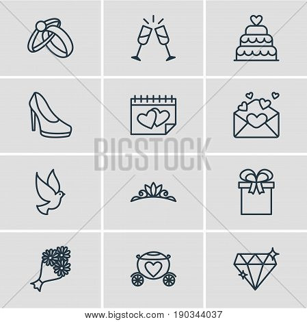 Vector Illustration Of 12 Engagement Icons. Editable Pack Of Engagement, Brilliant, Chariot And Other Elements.