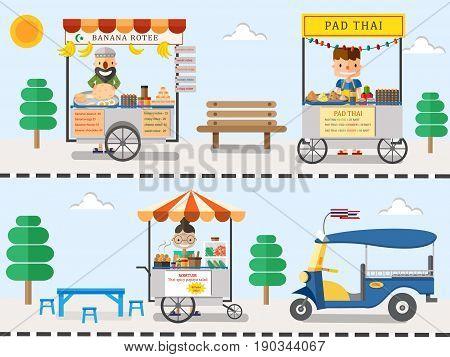 Street food in Thailand design illustration vector