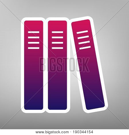 Row of binders, office folders icon. Vector. Purple gradient icon on white paper at gray background.