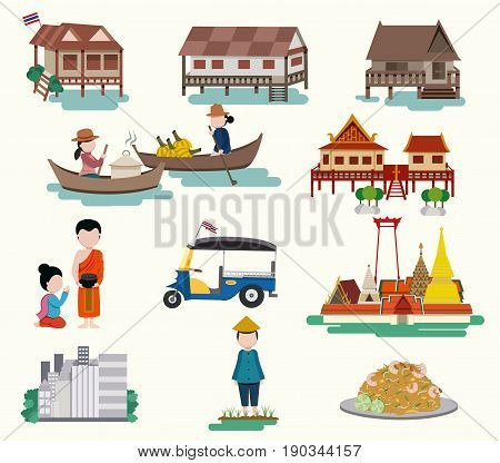 Central Thailand travel elements in flat style isolated on white background illustration vector
