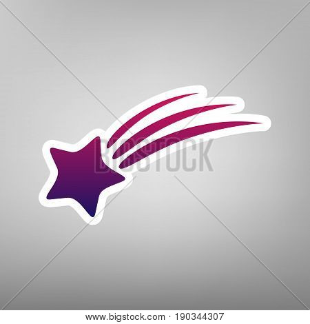 Meteor shower sign. Vector. Purple gradient icon on white paper at gray background.