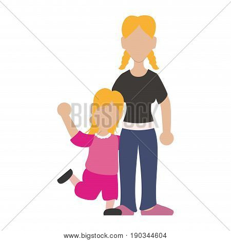 faceless woman sister vector illustration graphic design icon