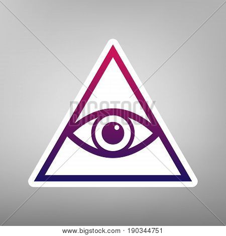 All seeing eye pyramid symbol. Freemason and spiritual. Vector. Purple gradient icon on white paper at gray background.