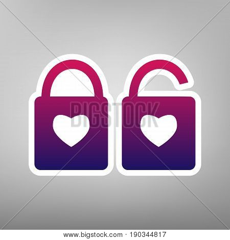 lock sign with heart shape. A simple silhouette of the lock. Shape of a heart. Vector. Purple gradient icon on white paper at gray background.