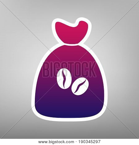 Coffee bag Icon. Coffee bag. Vector. Coffee bag Icon Button. Vector. Purple gradient icon on white paper at gray background.