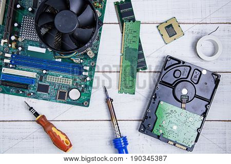 Computer Motherboard, Computer Parts, Hard Disk, Ram And Equipment Repair On The White Wooden Backgr