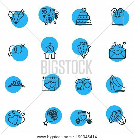 Vector Illustration Of 16 Wedding Icons. Editable Pack Of Bridal Bouquet, Building, Bridegroom Dress And Other Elements.