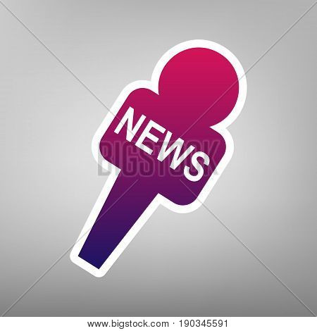 TV news microphone sign illustration. Vector. Purple gradient icon on white paper at gray background.