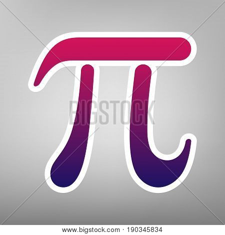 Pi greek letter sign. Vector. Purple gradient icon on white paper at gray background.