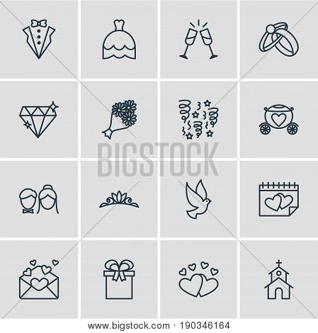 Vector Illustration Of 16 Marriage Icons. Editable Pack Of Couple, Wineglass, Accessories And Other Elements.