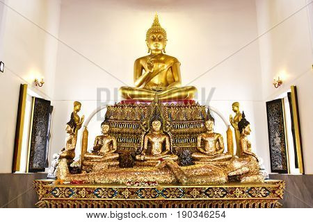 Buddha statue beautiful in the church of Wat Pranon Temple at Suphanburi Thailand.