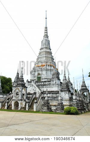 Many White Pagoda in Thai Temple Suphanburi Province Thailand.