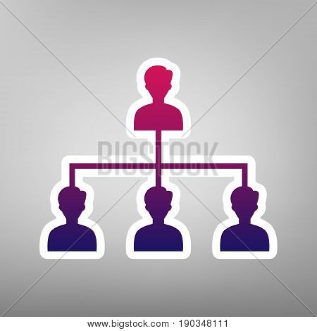 Social media marketing sign. Vector. Purple gradient icon on white paper at gray background.