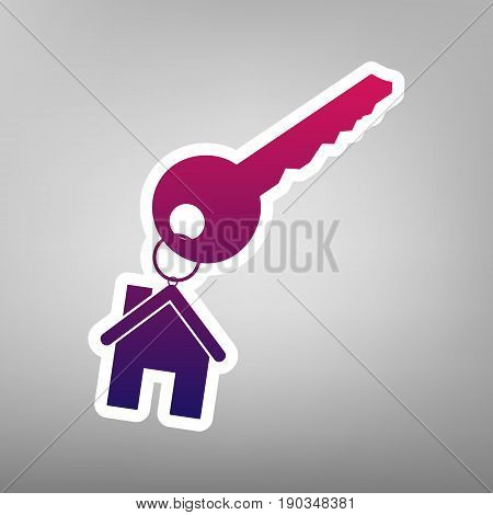 key with keychain as an house sign. Vector. Purple gradient icon on white paper at gray background.
