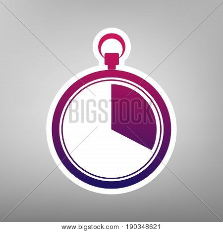 The 20 seconds, minutes stopwatch sign. Vector. Purple gradient icon on white paper at gray background.