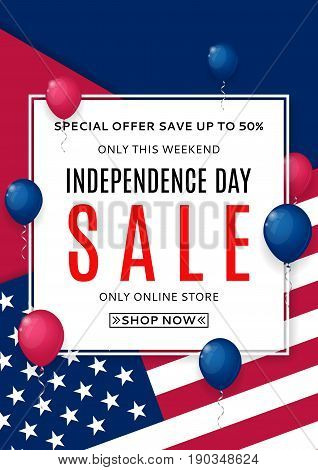 Poster for Independence Day sale. Color background with air balloons. American Independence Day celebration flyer. Vector illustration with USA flag.