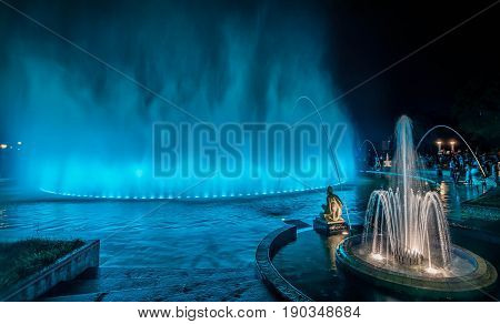 Colorful Fountain at night in the Park of the Reserve in Lima Peru