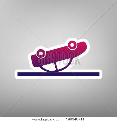 Crashed Car sign. Vector. Purple gradient icon on white paper at gray background.