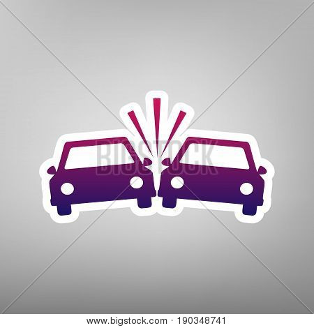 Crashed Cars sign. Vector. Purple gradient icon on white paper at gray background.