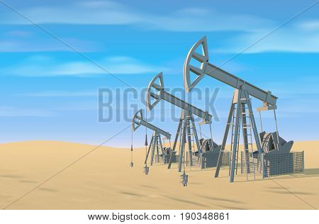 Petroleum rigs. Oil drill background. Vector image
