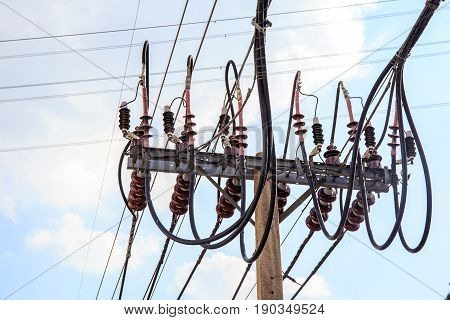 high voltage tower electric pole with sky