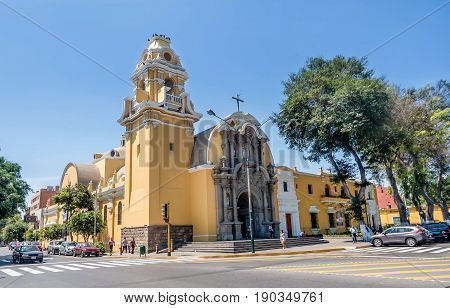 Lima, Peru- March 13, 2017: Colonial Church Iglesia la Ermita in Barranco Lima Peru