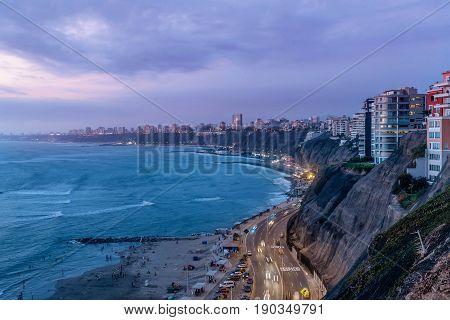 The Pacific coast of Miraflores in Lima Peru