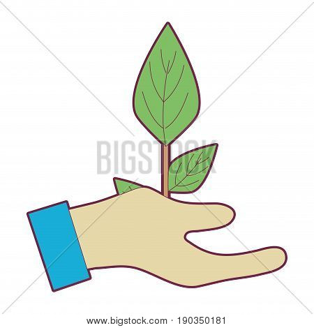 hand with plant to planet conservation vector illustration