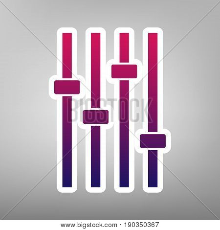 Adjustment music line sign. Vector. Purple gradient icon on white paper at gray background.