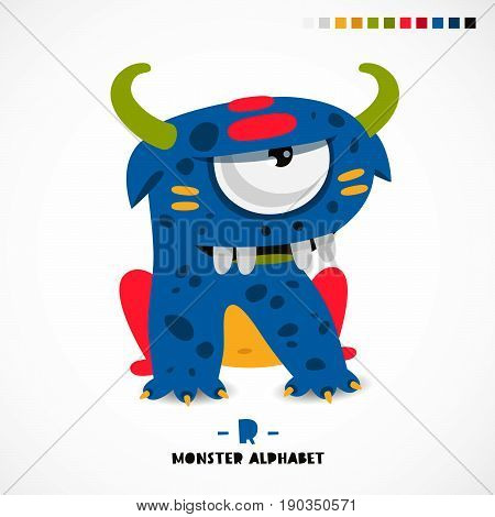 Monster alphabet. Letter R. A strange animal. Vector illustration on white background. Great children's print. The concept of a kid's toy.