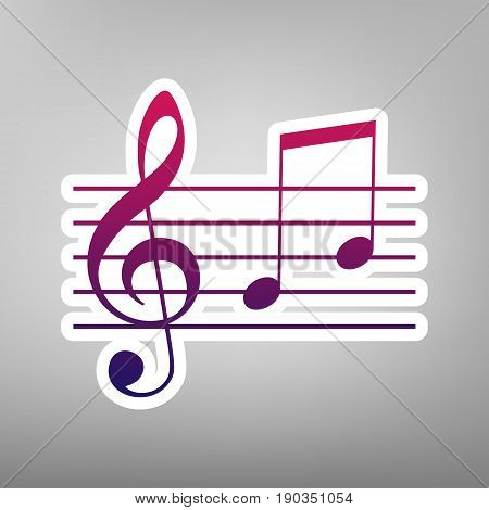 Music violin clef sign. G-clef and notes G, H. Vector. Purple gradient icon on white paper at gray background.