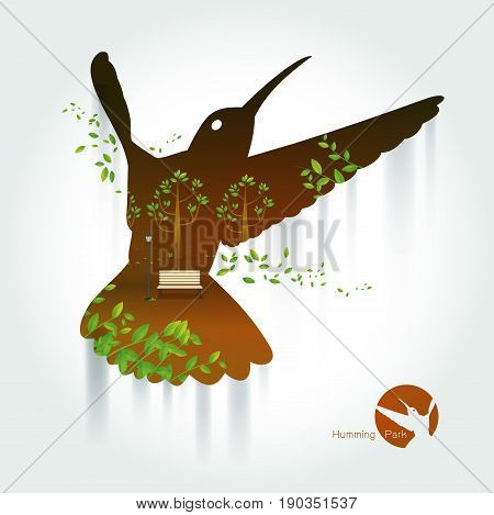 Silhouette of hummingbird with park on exotic landscape. a beautiful park.Environmentally friendly natural landscape.background of colorful sky . orange and yellow tones.Vector illustration