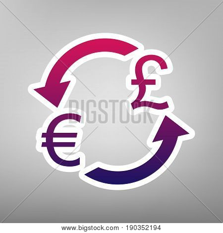 Currency exchange sign. Euro and UK Pound. Vector. Purple gradient icon on white paper at gray background.