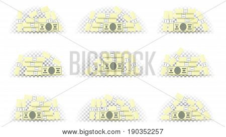 Set of money in different position. Collection of greenbacks isolated on transparent backdrop. Vector illustration.