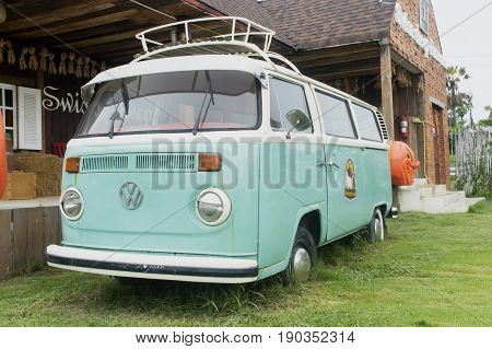 Swiss Sheep Farm Cha-am Thailand- May 29 2017: 23 windows VW bus in Swiss Sheep Farm Cha-am Thailand.