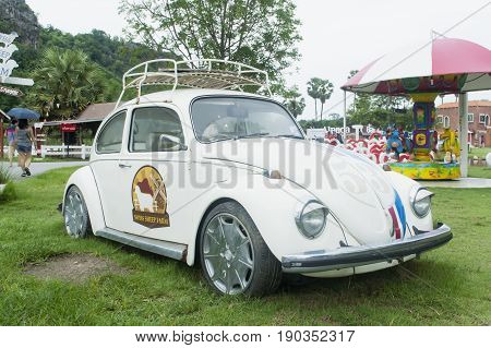 Swiss Sheep Farm Cha-am Thailand- MAy 29 2017: Beetle VW Design in Swiss Sheep Farm Cha-am Thailand.