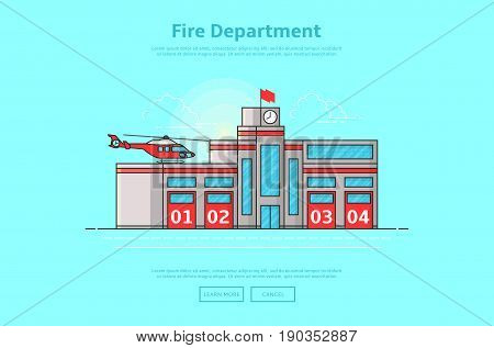 Concept of fire department. Color vector illustration in linear style with fire station building.
