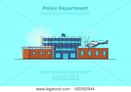 Concept of police department. Color vector illustration in linear style with police station building.