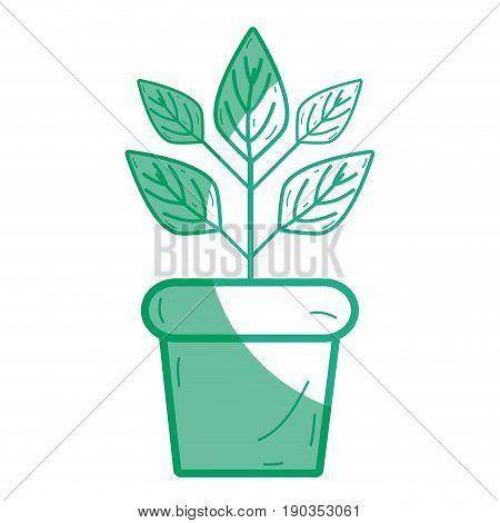 silhouette plant inside flowerpot to ecology preservation vector illustration